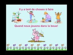"""Le printemps"" from Matt Maxwell's book ""Let's Sing and Learn in French""--a cute rhyming song about springtime images and activities. The simple video provides clear illustrations of the key vocabulary with onscreen lyrics. French Teaching Resources, Tools For Teaching, Teaching French, French Poems, French Phrases, Cloze Activity, Kindergarten Songs, Spring Song, Silly Songs"