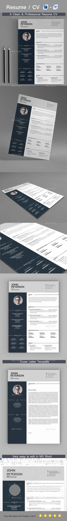 Resume Template PSD, MS Word. Download here: http://graphicriver.net/item/resume/16184564?ref=ksioks