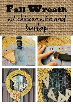 Make your own #Fall #wreath with chicken wire and #burlap in a jiffy
