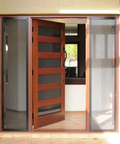 Lite Solid Timber Pivot Door Grey Tint Laminated Glass And