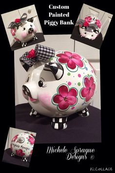 This adorable piggy bank is painted with flowers, dots and black and white check. Painted in shades of pink, berry, green and purple, this Whimsical Painted Furniture, Hand Painted Furniture, Painted Wood Letters, Pig Bank, Personalized Piggy Bank, Pottery Painting Designs, Color Me Mine, Cute Piggies, Biscuit