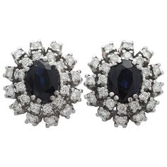 Sapphire and Diamond Cluster Earrings in 14 ct White Gold (£2,550) ❤ liked on Polyvore