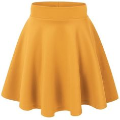 MBJ Womens Basic Versatile Stretchy Flared Skater Skirt ($6.89) ❤ liked on Polyvore featuring skirts, stretch skirt, flared hem skirt, yellow skater skirt, circle skirt and flare skirt