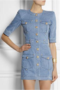Balmain | Denim mini dress | NET-A-PORTER.COM Inspiration til ærmekonstruktion