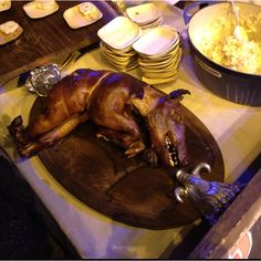 A reason to become a vegetarian- Academy of TV, food network event roasted pig
