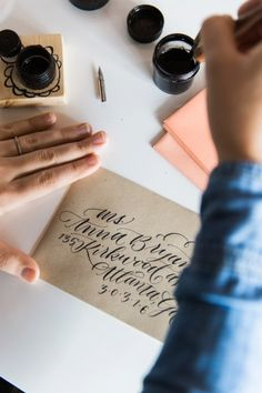 Calligraphy workshop giveaway: http://www.stylemepretty.com/living/2015/02/27/how-to-calligraphy-envelopes-a-giveaway/ | Photography: Kathryn McCrary - http://www.kathrynmccrary.com/