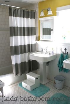 Great bathroom redo from Pleated Poppy as inspiration for basement. Paint is egg yolk yellow from martha stewart for home depot..