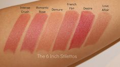 Natural Lipsticks in Intense Crush, Romantic Rose, Demure, French Flirt, Desire and Love Affair