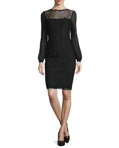 Escada Bishop-Sleeve Lace Dress, Black