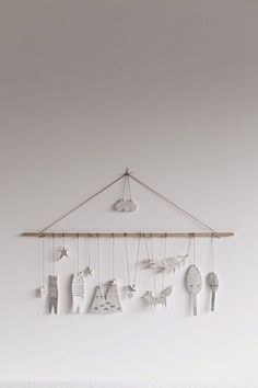 Handmade porcelain mobile by Katia Soussan for Studio Oink selected - Diy Kunst Clay Christmas Decorations, Christmas Trees, Christmas Ornaments, Christmas Diy, Diy Clay, Clay Crafts, Ceramic Clay, Ceramic Pottery, Ideias Diy
