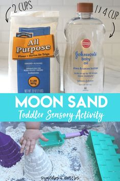 Moon Sand, A Toddler Sensory Play Activity, just two ingredients, great indoor or outdoor activity for toddler and kids! # indoor activities for toddlers preschool 2 Ingredient Moon Sand Recipe Outdoor Activities For Toddlers, Toddler Learning Activities, Infant Activities, Sensory Activities For Preschoolers, Sensory Play For Toddlers, Crafts With Toddlers, School Age Activities, Science For Toddlers, Art Projects For Toddlers