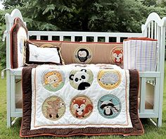 NAUGHTYBOSS Baby Bedding Set Cotton 3D Embroidery Elephan…