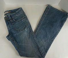 Women's Aeropostale Hailey Skinny Flare Long Light Blue Wash Denim Jeans 5/6