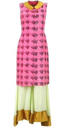 Mint green and pink kurta set by MASABA available only at http://www.perniaspopupshop.com/whats-new/masaba-mint-green-and-pink-kurta-set-mac0913lng03.html