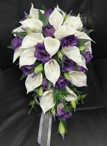 Silk Teardrop White Calla Lily Purple Set Posy Bouquet