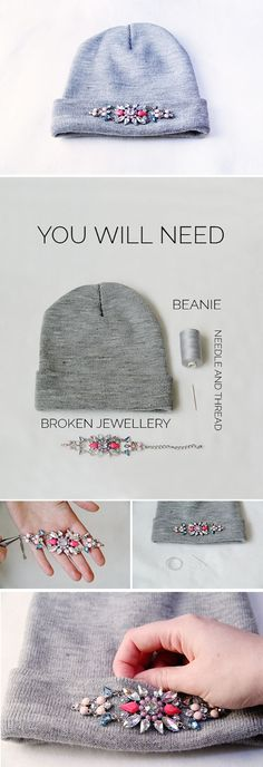 Reuse broken jewelry into a bejeweled accessory like this hat.