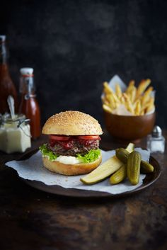 Big Bad Brutus Burgers on Brioche Buns, French Fries, Homemade Pickles & Ketchup
