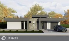 Linear 324 - Kolekcie | Modrastrecha.sk Flat Roof House Designs, Modern Small House Design, Contemporary House Plans, Modern House Plans, Single Storey House Plans, One Storey House, 2 Storey House Design, My House Plans, Industrial House