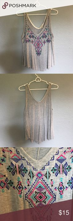 Gray Aztec Patterned Tank Top Lightweight, great for summer! Pink, black, and blue stitching on the front. Looks great with shorts or jeans! love on a hanger Tops Tank Tops