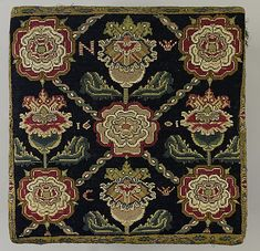 Cushion Cover    Date:      1601  Culture:      English  Medium:      Canvas embroidered with wool and silk thread; cross and long-armed cross stitches