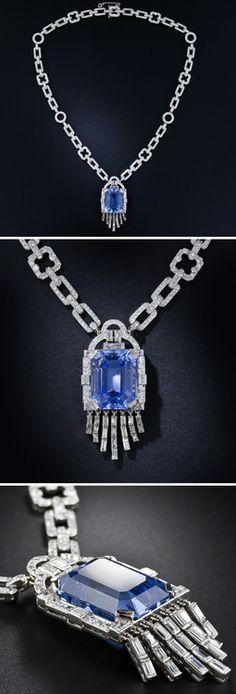Sapphire, diamond and platinum necklace.