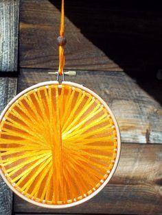 Handmade Orange Light Catcher - Rustic Wedding Decor - by RunawayCape, $13.50
