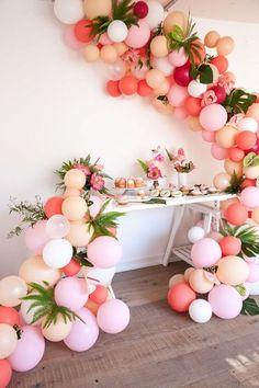 Tropical Flamingo Girl's Birthday Party By The Shift Creative . Tropical flamingo girl's birthday party by The Shift Creative - Home decor Luau Party, Diy Party, Ideas Party, Fun Ideas, Hawaiin Theme Party, Party Themes For Kids, 21st Party Themes, Summer Party Themes, Creative Party Ideas