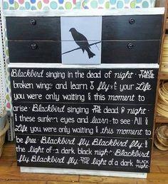 BEATLES BLACKBIRD OOAK Lyrics Dresser Rustic by WeHaveAGreatNotion