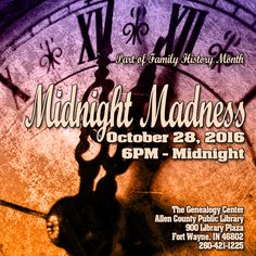 Join us for Midnight Madness! Extended hours! Mini-programs! Maybe even a ghost or two!