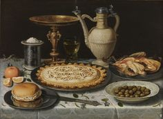 Clara Peeters (Active in Antwerpen, c.1607-1621 of later), Still life with tazza can and treats, c.1611, oil on panel, 55 x 73 cm. Madrid, Museo Nacional del Prado