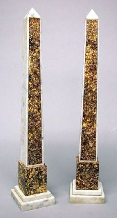Pair of Italian Marble Obelisks Height 29 inches. Italian Marble, Candles, Obelisks, Candy, Candle Sticks, Candle