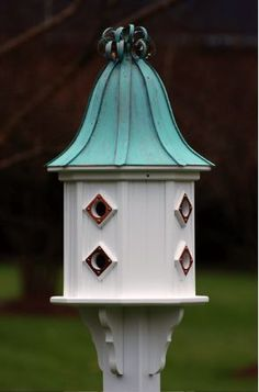 Copper Roof Dovecote Birdhouse 36x14 Ribbon Detail- 8 Portals