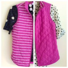 Pink Reversible Vest Thin weight puffer vest with a stripe and solid pink side. Pockets on both side and waist cincher in back. Fit is roomy, fits xs-s.  ~CONDITION: Excellent, never worn   No Trades ✅ Offer Button Welcome Croft & Barrow Jackets & Coats Vests