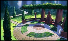 Throne Glade by George Johnstone on ArtStation. Throne Room, Environmental Art, Fantasy Art, Concept Art, Scenery, Patio, Architecture, World, City