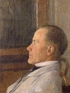 Self Portrait by Fernand Khnopff.  He established himself as the preferred portraitist of the upper middle class - he undertook works inspired by literature following the example of Felicien Rops.  His first symbolist image was the Sphinx.