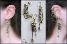 Brass, pink quartz, green aventurnie, Swarovski crystals, cultivated pearls $40 including shipment worldwide