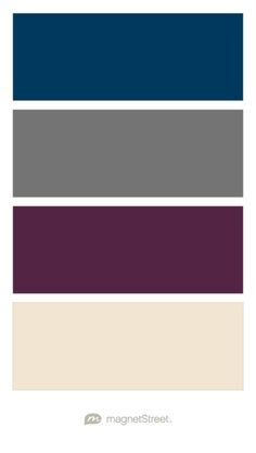 Navy, Charcoal, Custom Purple, and Champagne Wedding Color Palette - custom color palette created at MagnetStreet.com