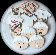 Decorated Burberry Inspired Baby Shower cookies by peapodscookies
