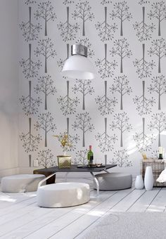 Dill pattern/ SnowTree Decorative Scandinavian wall by StenCilit