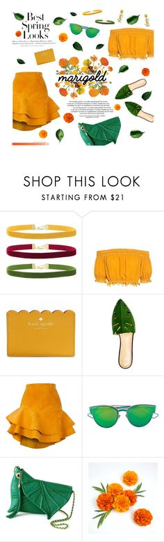 """#143 Marigold"" by haunteds ❤ liked on Polyvore featuring Rock 'N Rose, Apiece Apart, H&M, Kate Spade, Charlotte Olympia, Siobhan Molloy, Christian Dior, Yves Saint Laurent, contestentry and marigold"