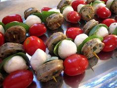 Basil, Mozzarella and Sausage Skewers