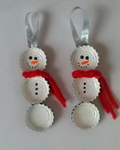 Bottle Cap Snowmen Ornaments. These bottle top snowmen are easy and fun to make. Great for a heart felt, homemade Christmas gift for grandparents, teachers, or just to hang on the tree. Check out how to make them