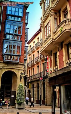 Logroño, La Rioja, Spain. Albergue has the blue balconies. Right on the Cathedral Square.
