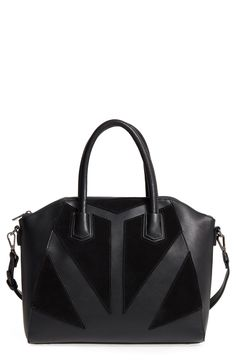 Free shipping and returns on Sole Society Rosamund Satchel at Nordstrom.com. Faux-suede patches set in an arresting geometric pattern detail a smooth faux-leather satchel topped with rolled handles and an optional, adjustable shoulder strap.