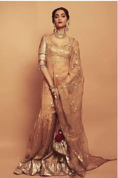 Sonam Kapoor & Anand Ahuja Look Every Bit Royal As They Post Drool Worthy Pictures From A Wedding - HungryBoo Stylish Dresses For Girls, Stylish Dress Designs, Girls Dresses, Indian Dresses, Indian Outfits, Shagun Blouse Designs, Indian Designer Suits, Bollywood Fashion, Bollywood Style