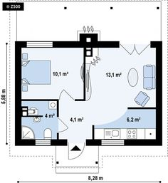 Guest House Plans, Bedroom House Plans, Small House Plans, House Floor Plans, Modular Homes, Prefab Homes, A Frame Cabin Plans, Bungalow, T2 T3