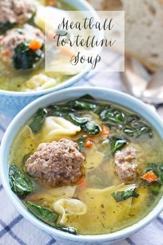 Meatball Tortellini Soup + 14 more easy soup recipes for National Homemade Soup . - Food and drink - Tortellini Guisado, Fall Soup Recipes, Cooking Recipes, Healthy Recipes, Healthy Options, Albondigas, Homemade Soup, Soup And Sandwich, Soup And Salad