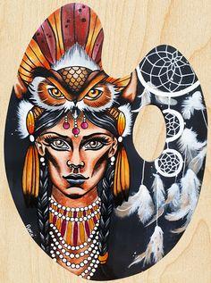 Acrylique/peinture/palettedepeintre/palette/indienne/hibou/oiseau/plumes/chamane/contemporain/peinture/réalisme/tableau/acrylique/illustration/graphisme/paint/Poppix' 37x28cm Palette, Illustration, Acrylic Board, Feathers, Painted Canvas, Black N White, Graphic Design, Pallets, Illustrations