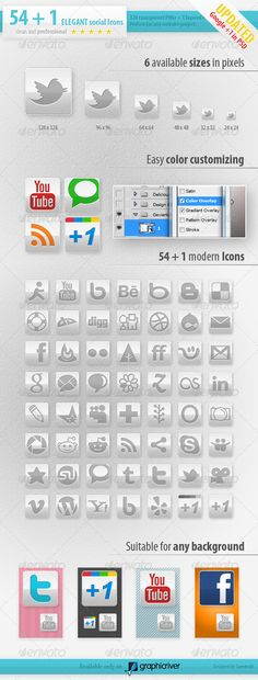54 Social Media Icons - Elegant Edition
