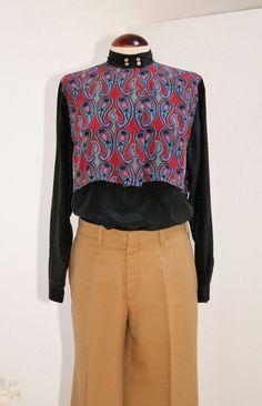 Vintage 80s Black Silk Blouse with Double Layer por Laimperdible